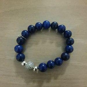 Jewelry - Blue lapis stretch braclet with rhinestone